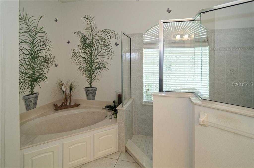 Garden tub with very large tiled shower.  Custom mural behind tub. - Single Family Home for sale at 9199 Key West St, Port Charlotte, FL 33981 - MLS Number is C7403206