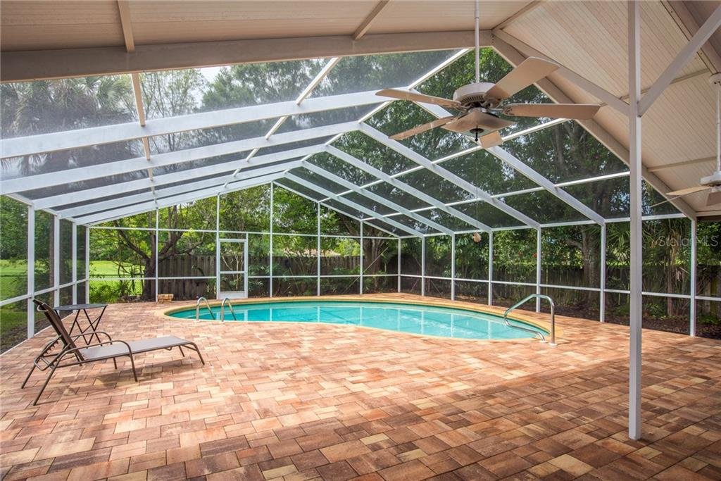 Paver brick lanai and swimming pool - Single Family Home for sale at 3448 Pine Valley Dr, Sarasota, FL 34239 - MLS Number is A4188545