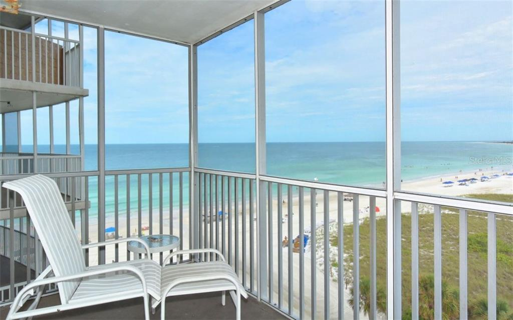 Covered, screened terrace with Gulf of Mexico views - Condo for sale at 6300 Midnight Pass Rd #806, Sarasota, FL 34242 - MLS Number is A4189340