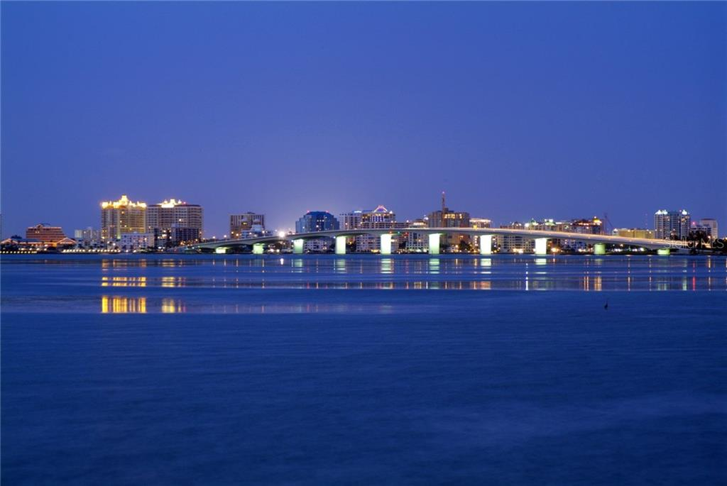 Evening view of the Ringling Bridge - Vacant Land for sale at 4137 Higel Ave, Sarasota, FL 34242 - MLS Number is A4189947