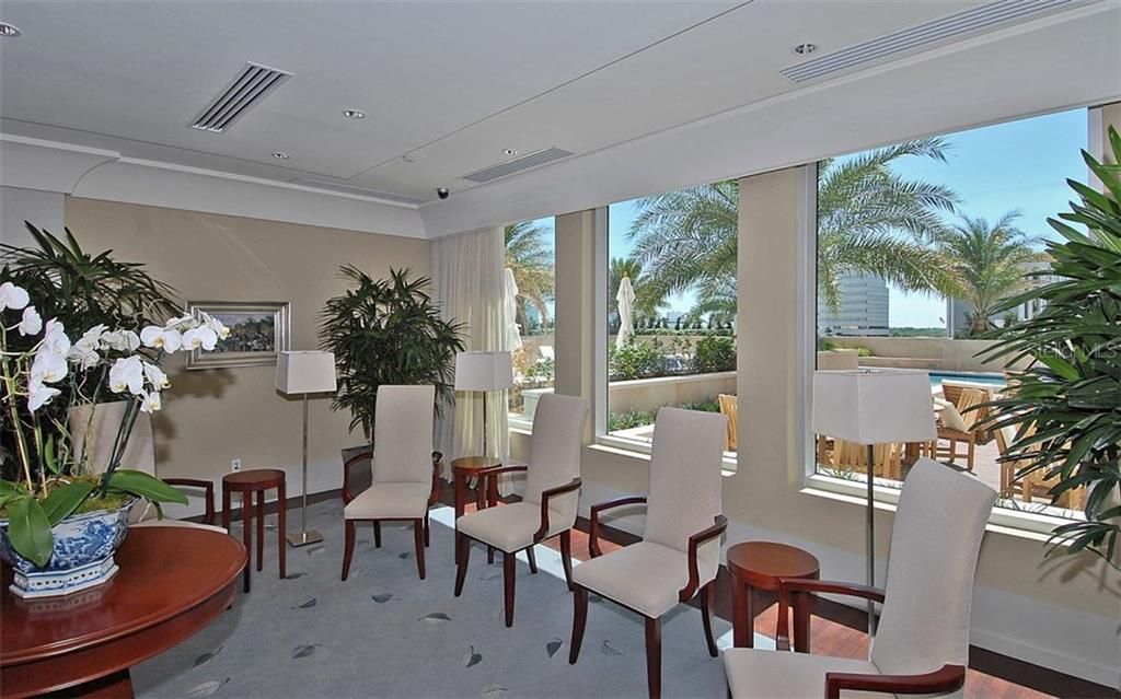 Social room overlooking the pool area - Condo for sale at 1350 Main St #608, Sarasota, FL 34236 - MLS Number is A4206707
