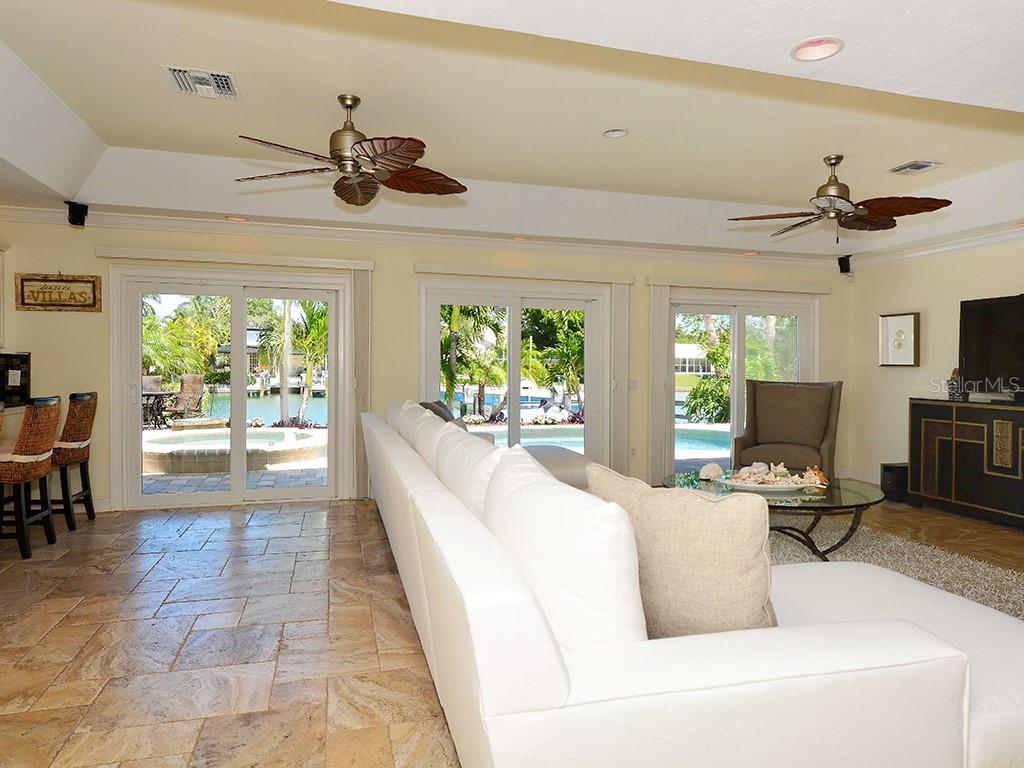 Family Room - Walls of Sliding Glass Doors - Single Family Home for sale at 85 S Polk Dr, Sarasota, FL 34236 - MLS Number is A4400870