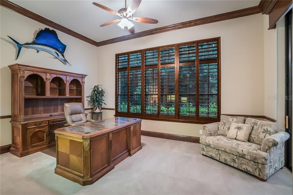 Impressive Den/Office with plantation shutters to view the lush preserve. - Single Family Home for sale at 13223 Palmers Creek Ter, Lakewood Ranch, FL 34202 - MLS Number is A4408290