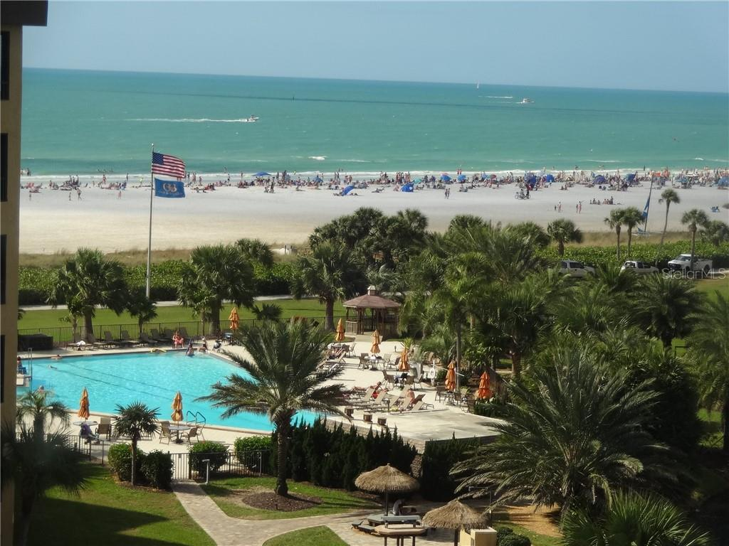 View of Beach and 1 of 3 pools - Condo for sale at 5780 Midnight Pass Rd #701b, Sarasota, FL 34242 - MLS Number is A4422545