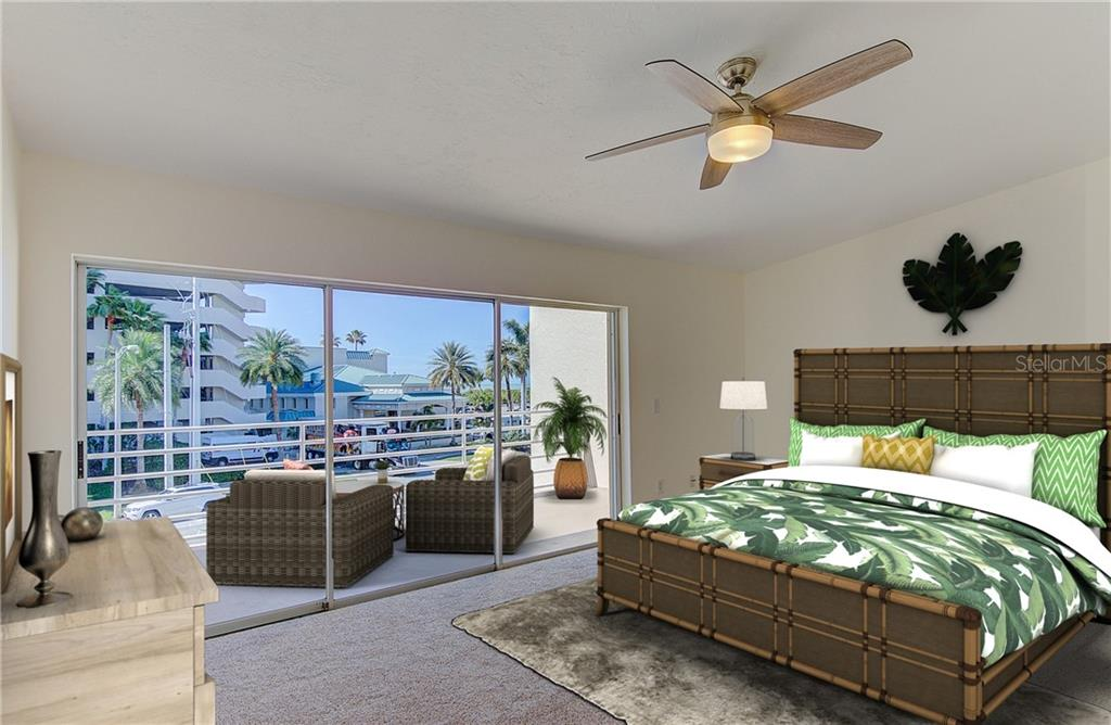 Digitally staged - Master bedroom on 3rd floor with oversized balcony and amazing views of LIdo beach - Condo for sale at 773 Benjamin Franklin Dr #7, Sarasota, FL 34236 - MLS Number is A4427752