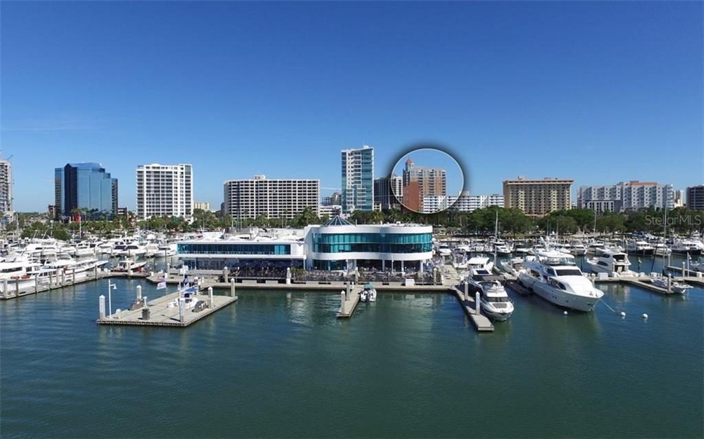 View of 1350 Main from Sarasota Bay - Condo for sale at 1350 Main St #1500, Sarasota, FL 34236 - MLS Number is A4433444