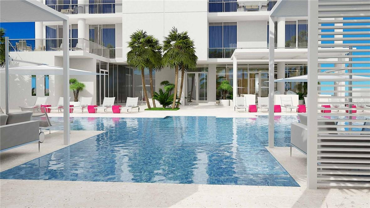 Whether it's laps or lounging, the oversized pool welcomes serious swimmers or quick dippers. - Condo for sale at 605 S Gulfstream Ave #12, Sarasota, FL 34236 - MLS Number is A4441150