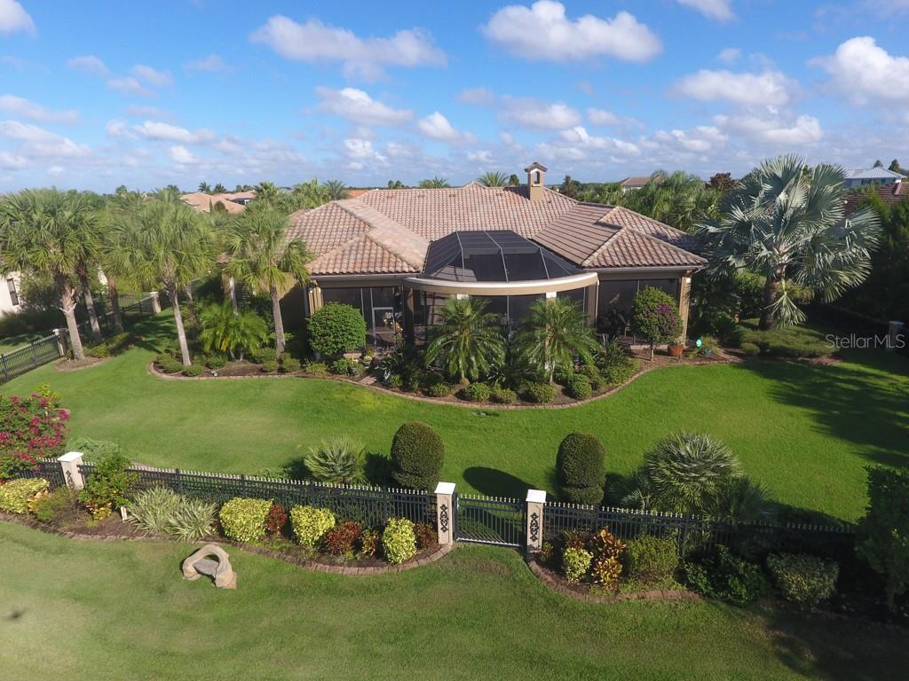 Aerial shot of the rear of the lot - Single Family Home for sale at 15212 Linn Park Ter, Lakewood Ranch, FL 34202 - MLS Number is A4450793