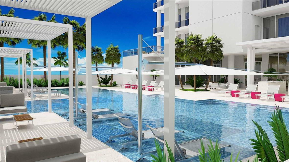 Tropically Landscaped Terrace with 70ft. Lap Pool with sun shelf, Spa, ,Pergolas - Condo for sale at 605 S Gulfstream Ave #15, Sarasota, FL 34236 - MLS Number is A4453705