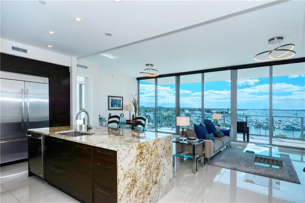 Kitchen/Great Room and views! - Condo for sale at 1155 N Gulfstream Ave #507, Sarasota, FL 34236 - MLS Number is A4458926