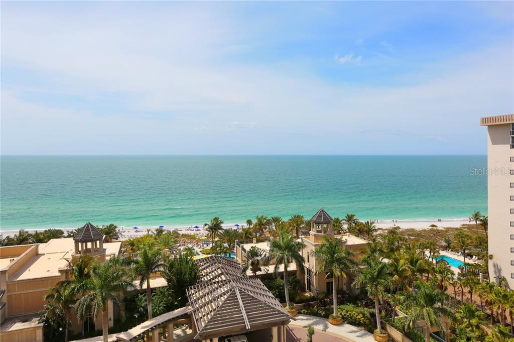 Full Western views Gulf Of Mexico shoreline views from Unit 805 overlooking Ritz Carlton Members Beach Club - Condo for sale at 1300 Benjamin Franklin Dr #805, Sarasota, FL 34236 - MLS Number is A4462621