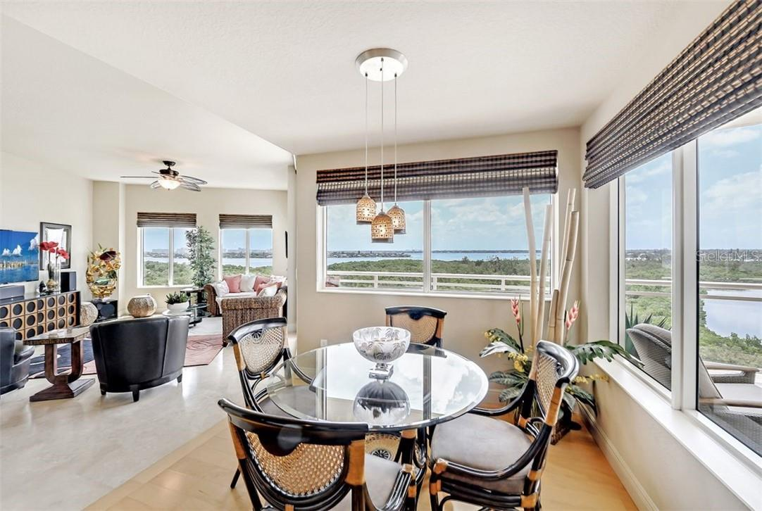 Breakfast nook overlooking Sarasota Bay. - Condo for sale at 1300 Benjamin Franklin Dr #708, Sarasota, FL 34236 - MLS Number is A4471978