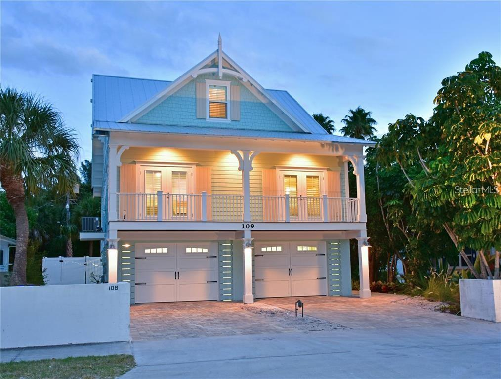 Front elevation - Single Family Home for sale at 109 Palm Ave, Anna Maria, FL 34216 - MLS Number is A4481814