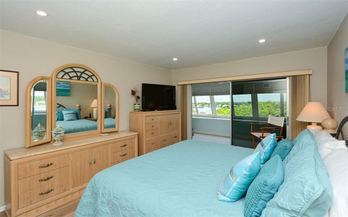 Master Bedroom and view - Condo for sale at 1200 E Peppertree Ln #602, Sarasota, FL 34242 - MLS Number is A4495963