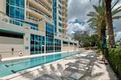 Amenities include a Lap pool a dipping pool and a large spa - Condo for sale at 340 S Palm Ave #412, Sarasota, FL 34236 - MLS Number is A4403968