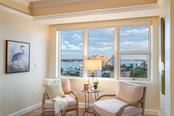 Master suite extra seating area with views of the Marina and Gulf of Mexico! - Condo for sale at 128 Golden Gate Pt #902a, Sarasota, FL 34236 - MLS Number is A4433296
