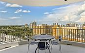 Panoramic city and partial bay views from the center of the large curved terrace - Condo for sale at 1771 Ringling Blvd #1110, Sarasota, FL 34236 - MLS Number is A4474683
