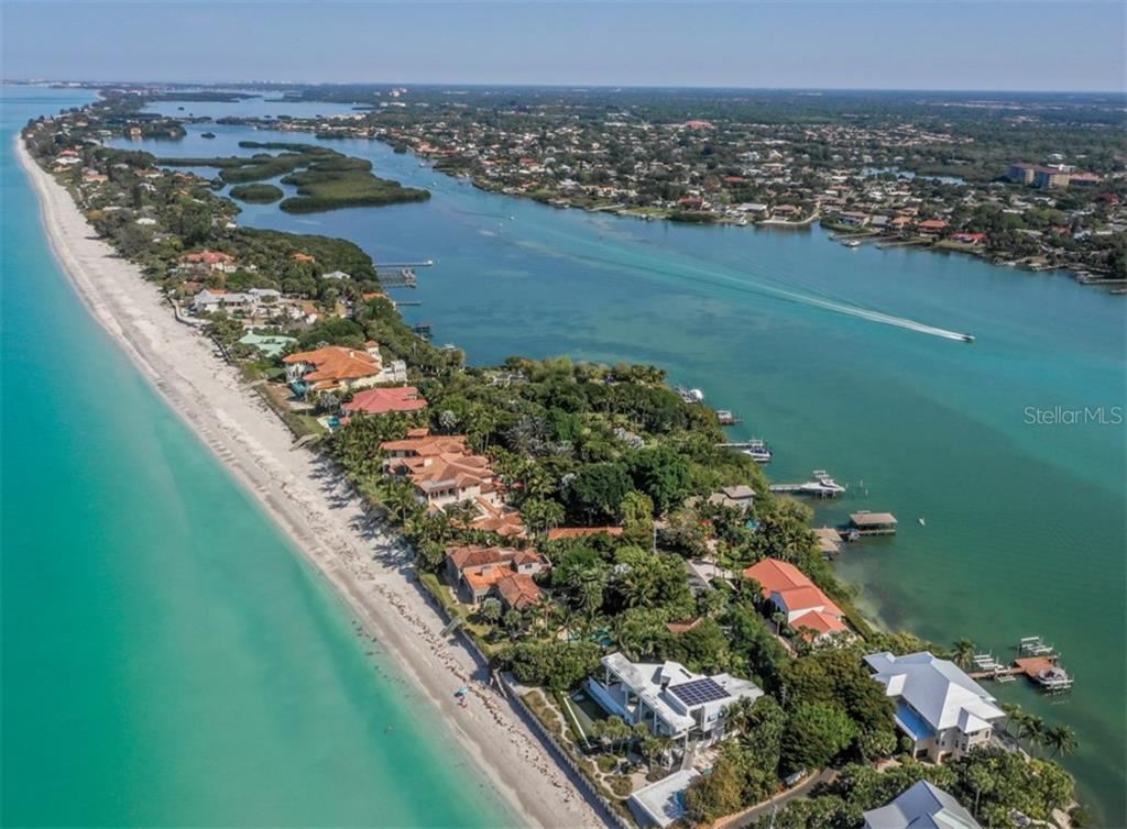 Aerial of Casey Key, Gulf of Mexico and Little Sarasota Bay - Single Family Home for sale at 2208 Casey Key Rd, Nokomis, FL 34275 - MLS Number is N6110959