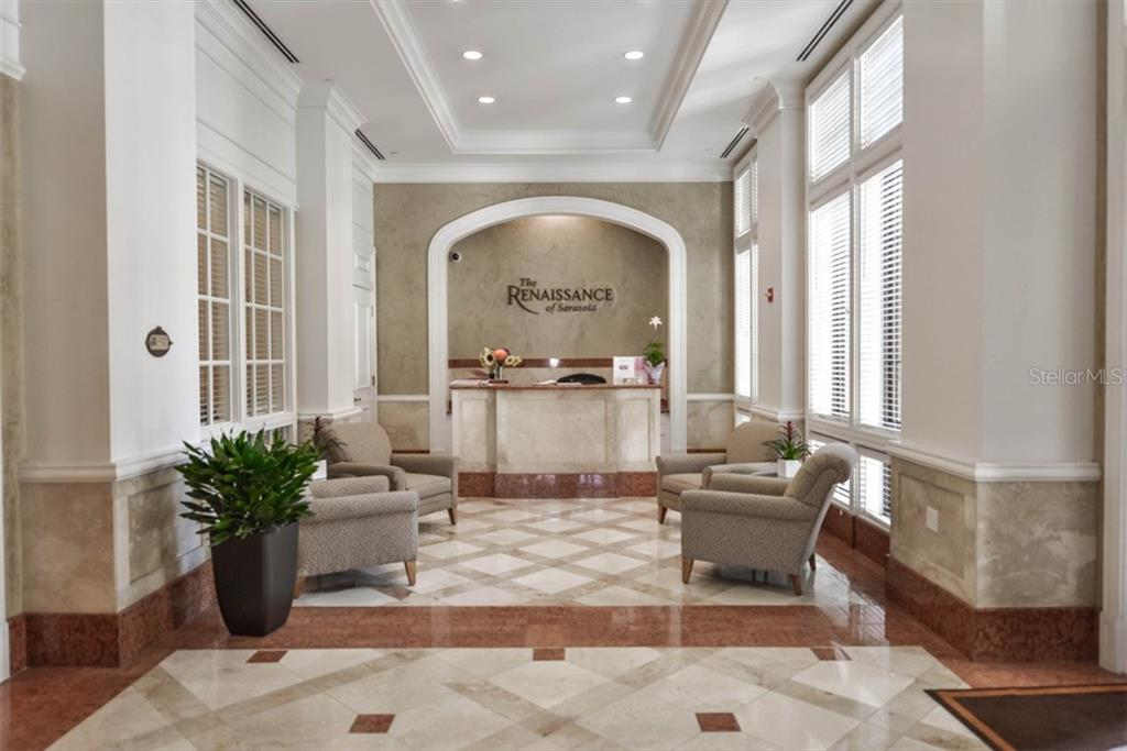 Lobby, Reception Desk - Condo for sale at 750 N Tamiami Trl #1108, Sarasota, FL 34236 - MLS Number is A4190640